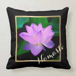 Blue Lotus Beautiful Purple Flower Namaste Throw Pillows