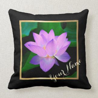 Blue Lotus Beautiful Purple Flower Your Name Throw Pillow