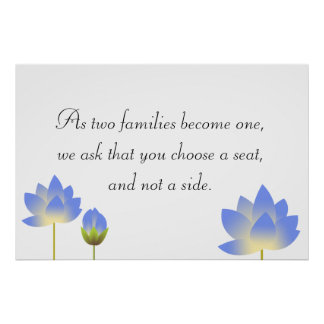 Blue lotus blossoms grey wedding seating sign poster