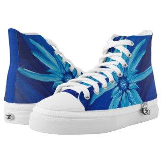Blue Lotus Daisy Fine Art Print High Top Shoes