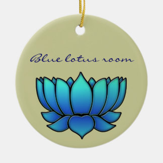 blue lotus round ceramic decoration