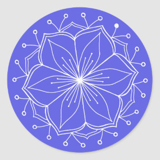 Blue Lotus Flower Mandala Classic Round Sticker