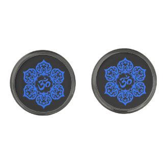 Blue Lotus Flower Om on Black Gunmetal Finish Cufflinks