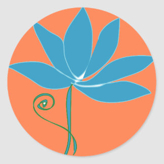Blue Lotus Flower with Orange Background Round Sticker