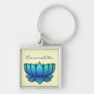 blue lotus Silver-Colored square key ring