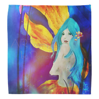 Blue Lotus Lionfish Mermaid Bandana