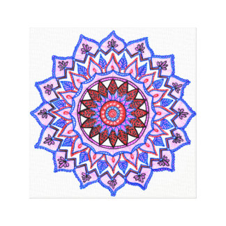 Blue Lotus Mandala 12x12 inch Canvas Print