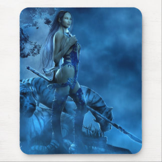 Blue Lotus Mouse Pad