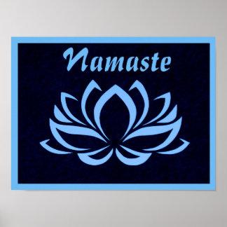 Blue Lotus Namaste Wall Poster