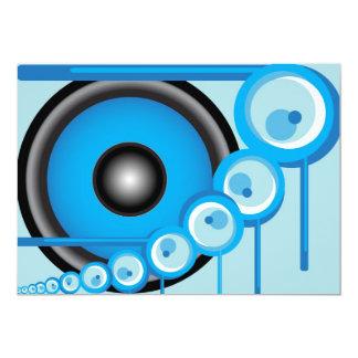 Blue Loudspeaker 13 Cm X 18 Cm Invitation Card