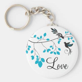 Blue Love Birds Key Ring