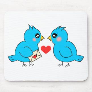 Blue Love Birds Mouse Pad