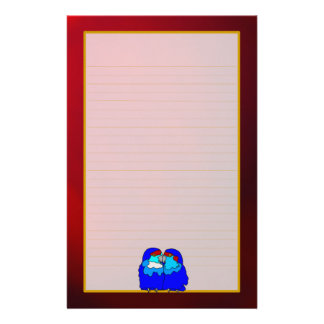 Blue Love Birds on Red Fine Lined Stationery