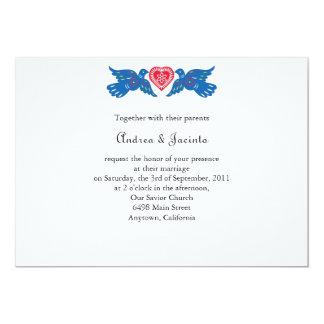 Blue Love Birds Picado Style Invitation