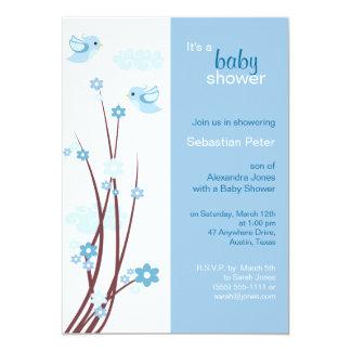 Blue Love Birds Spring Flowers Baby Shower 13 Cm X 18 Cm Invitation Card