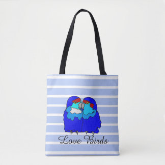 Blue Love Birds Tote with Message