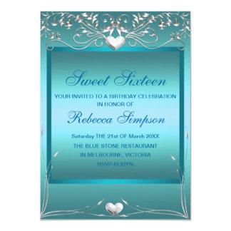 Blue Love Heart Sweet 16 Birthday Invite