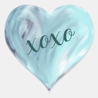 Blue Love Heart Xoxo Watercolor Painted Heart Sticker