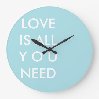 Blue Love is All You Need Custom White Text Wallclock