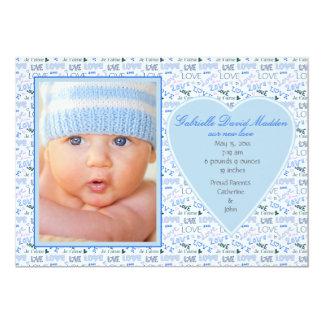 Blue Love Photo Birth Announcement