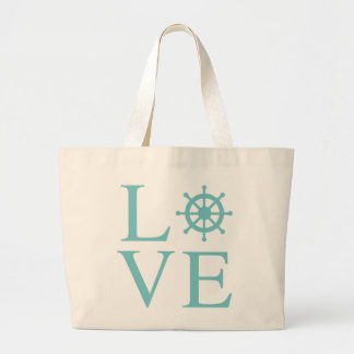 Blue LOVE Turquoise Teal Nautical Ship Wheel Large Tote Bag