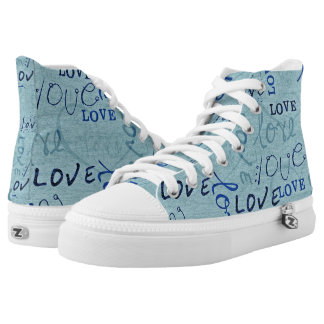 Blue Love Words Printed Shoes