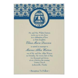 Blue Lovebird Cage Wedding Invitation