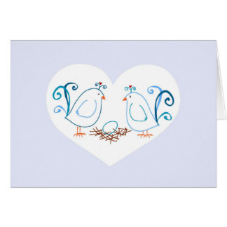 Blue Lovebirds and Nest Note Card