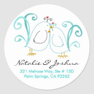 Blue Lovebirds & Blossoms Classic Round Sticker