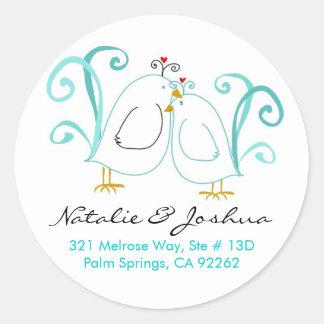 Blue Lovebirds & Blossoms Sticker