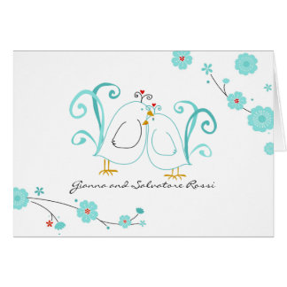 Blue Lovebirds, Thank You Cards