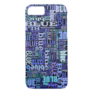 Blue lovers, blue pattern on black, typographic iPhone 8/7 case