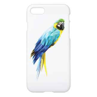 Blue Macaw low polygon bird iPhone 7 Case