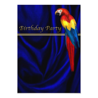 Blue Macaw Parrot Satin Birthday Party Template Card