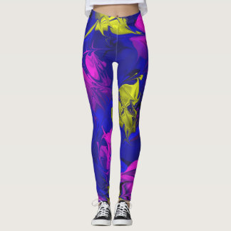 Blue Magenta pink marbled marble abstract legging