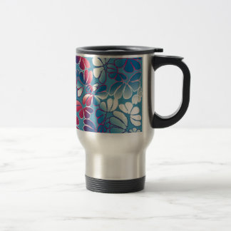 Blue Magenta Whimsical Ikat Floral Doodle Pattern Coffee Mug