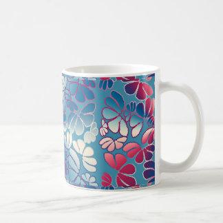 Blue Magenta Whimsical Ikat Floral Doodle Pattern Mug