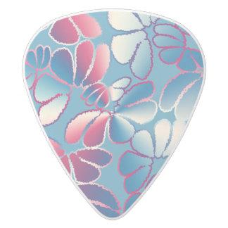 Blue Magenta Whimsical Ikat Floral Doodle Pattern White Delrin Guitar Pick