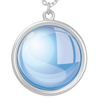 Blue Magic Glass Ball Silver Plated Necklace