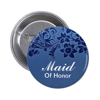 blue maid of honor wedding button