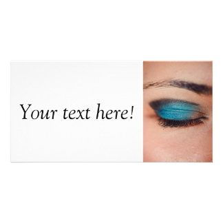 Blue make-up customized photo card
