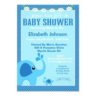 Blue Mama and Baby Elephant Baby Shower Invitation