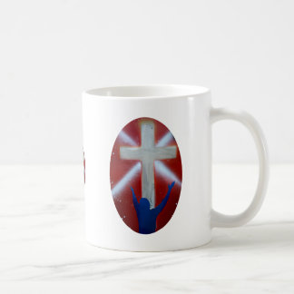 Blue Man raises arms up to cross on red back Coffee Mug