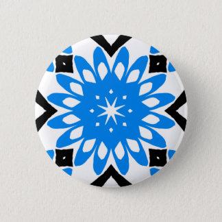 Blue mandala art flower button