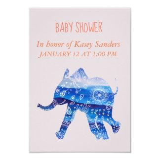 Blue Mandala baby Elephant Baby shower Invitations