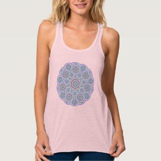 Blue Mandala Design on Pink Background Singlet