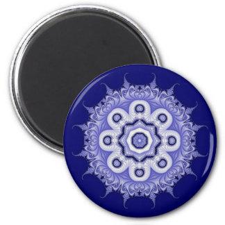 Blue Mandala Fractal 200706072332 6 Cm Round Magnet