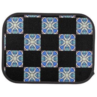 blue mandala hearts pattern check pattern car mat