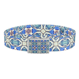 Blue mandala hearts pattern Thunder_Cove Belt