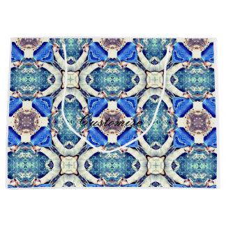 Blue mandala hearts pattern Thunder_Cove Large Gift Bag